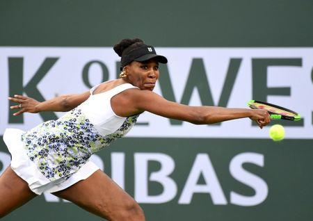 Mar 15, 2018; Indian Wells, CA, USA; Venus Williams (USA) in her quarterfinal match against Carla Suarez Navarro (not pictured) in the BNP Paribas Open at the Indian Wells Tennis Garden. Jayne Kamin-Oncea-USA TODAY Sports