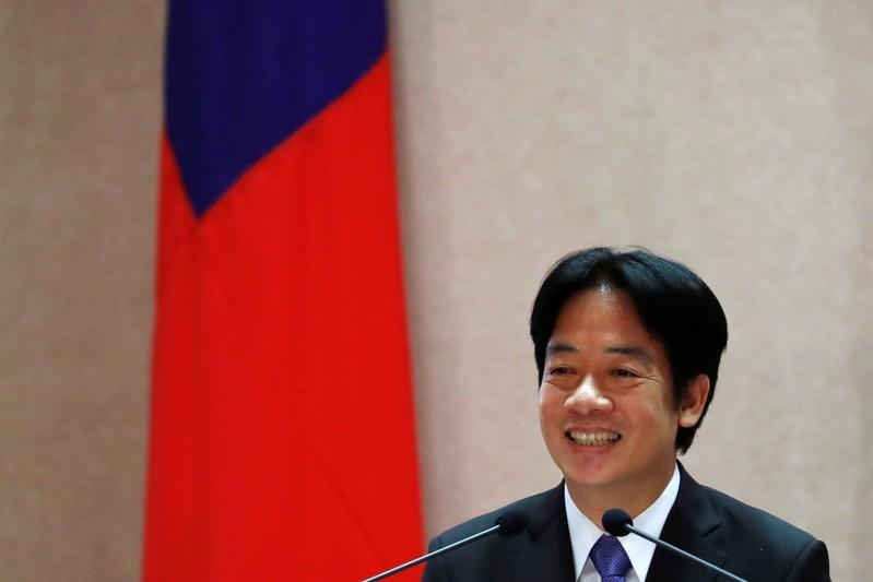 Taiwanese new premier William Lai speaks during a cabinet transition ceremony in Taipei