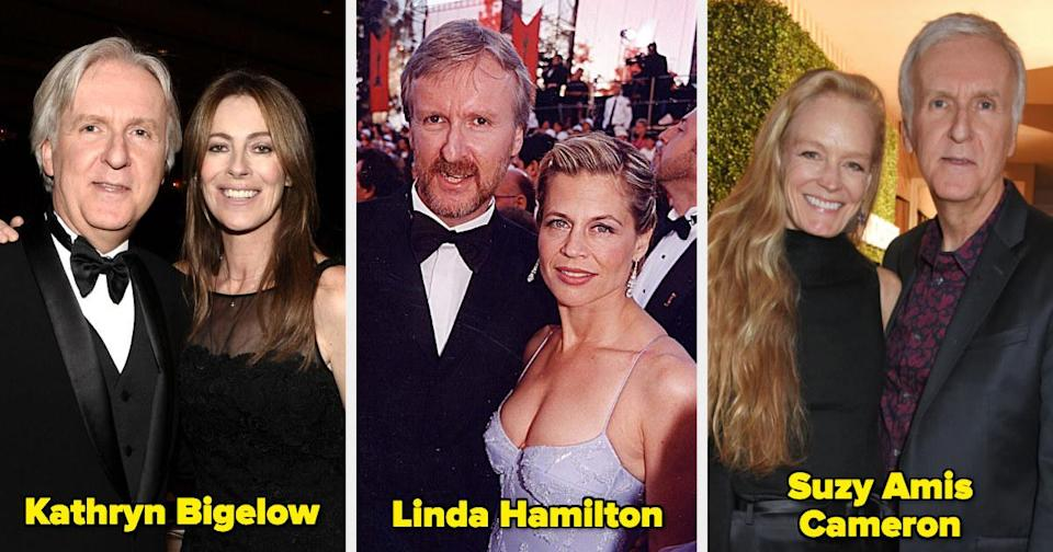 James Cameron with his former wives