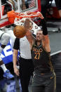 Chicago Bulls center Daniel Theis dunks against the Milwaukee Bucks during the first half of an NBA basketball game in Chicago, Friday, April 30, 2021. (AP Photo/Nam Y. Huh)