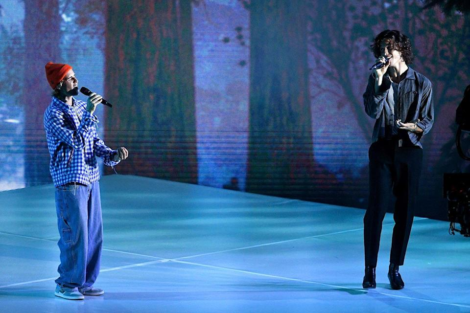 Justin Bieber Joined by Shawn Mendes for 'Monster' as He Performs a Medley of Hits at 2020 AMAs