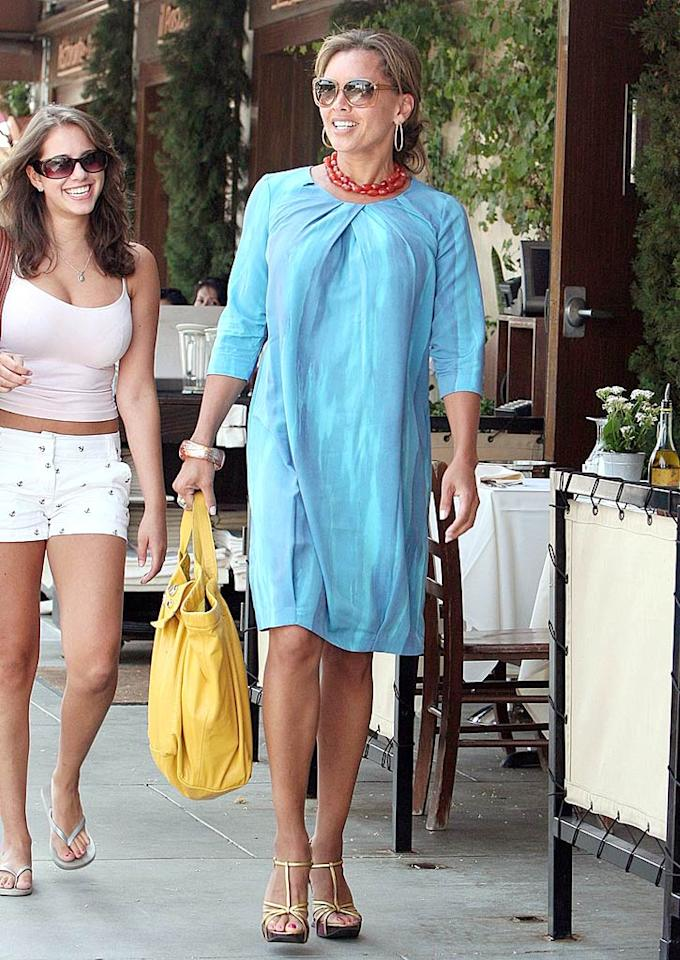 """Va-va-voom! Vanessa Williams worked it in a flirty turquoise frock. The gorgeous """"Ugly Betty"""" star accessorized with strappy gold sandals, a beautiful beaded necklace, and a monstrous mustard handbag. Shirley Buhl/<a href=""""http://www.pacificcoastnews.com/"""" target=""""new"""">PacificCoastNews.com</a> - July 9, 2008"""
