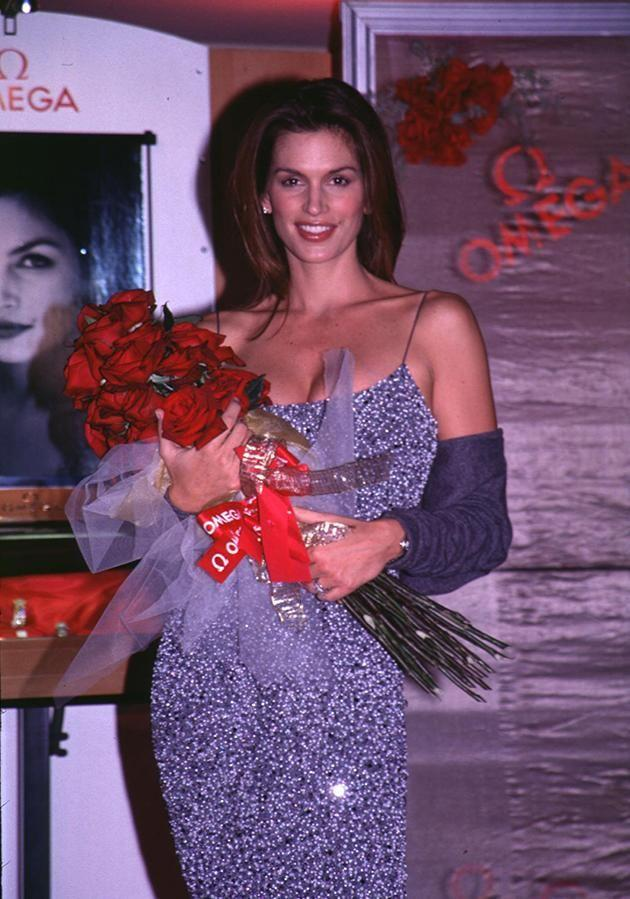 The model has been a spokesperson for the brand since 1995. Here she is pictured at an Omega event in 1995. Photo: Getty