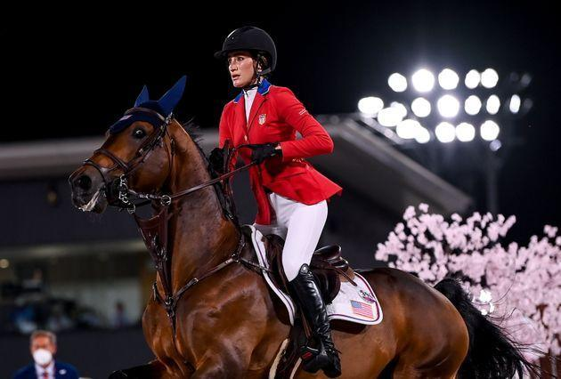 Jessica Springsteen, aboard Don Juan Van De Donkhoeve, did not advance past the jumping individual qualifier but has another event left. (Photo: Stephen McCarthy via Getty Images)