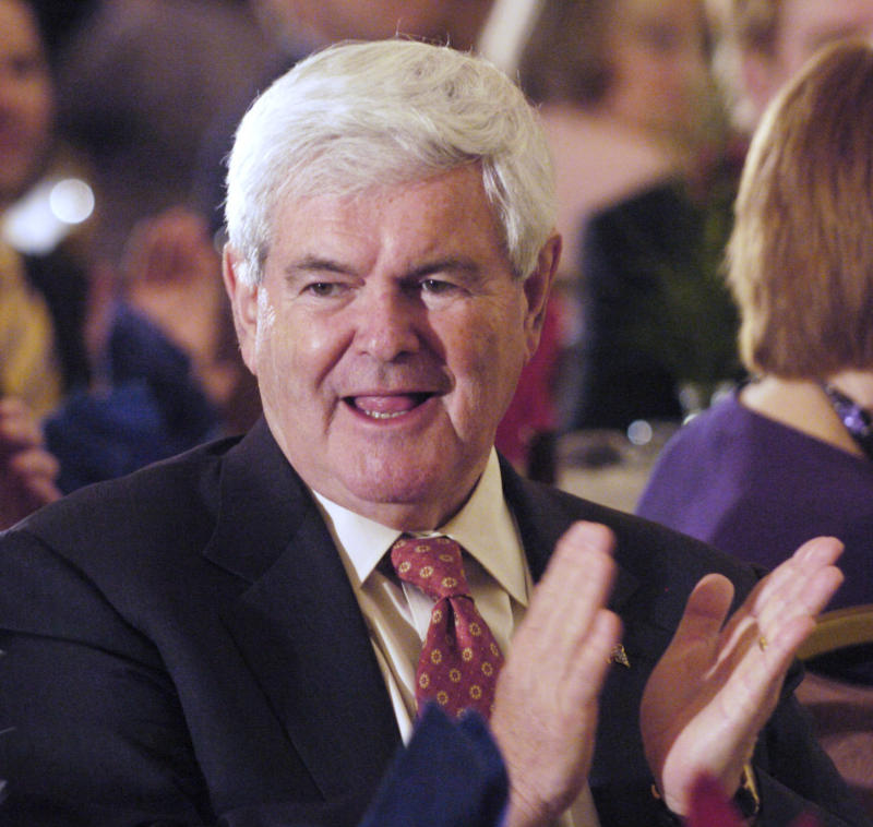 Republican presidential candidate Newt Gingrich waits to be introduced prior to speaking at the Northwest Suburban Republican 2012 Lincoln Day Dinner in Palatine, Ill.  on Wednesday, March 14, 2012. (AP Photo/Daily Herald, Joe Lewnard) MANDATORY CREDIT; MAGS OUT; TV OUT