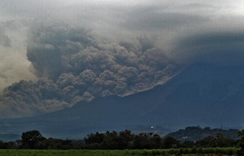 "The ""Volcano of Fire"" spews ash, as seen from Tonila, Jalisco State, Mexico, on July 11, 2015"