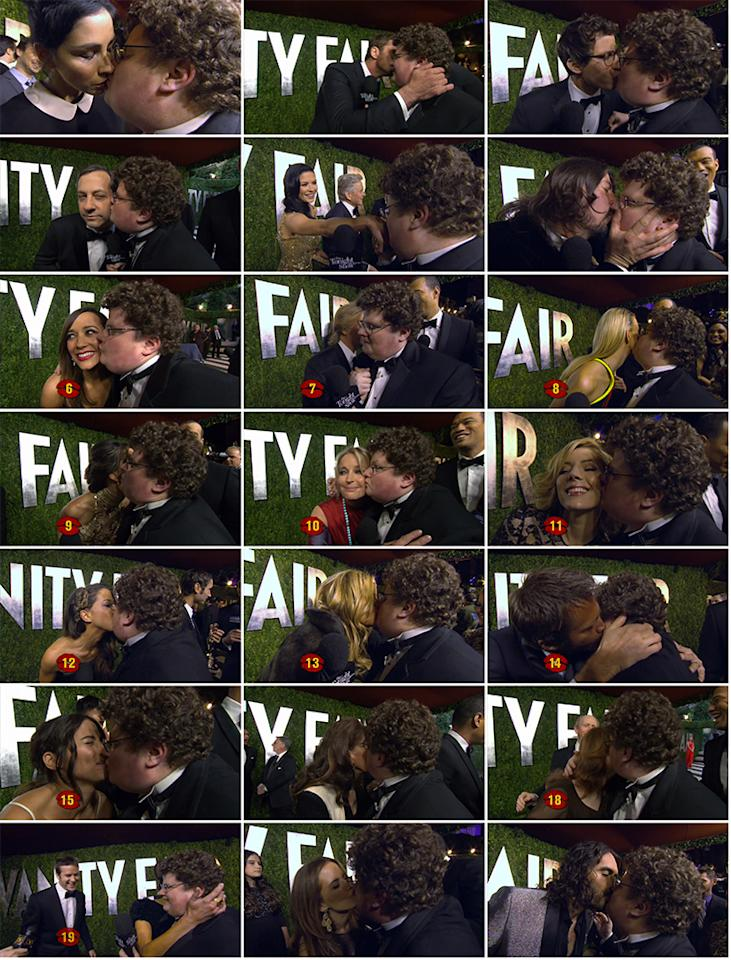 "With support from ""The Tonight Show With Jay Leno"" (and a challenge from Leno himself), Jesse Heiman attended the Vanity Fair Oscar Party on Feb. 24, 2013 to <a href=""http://www.youtube.com/watch?v=nbMe3ukrFaE"">""collect kisses for Jay"" from celebs</a>. And he was <a href=""http://www.youtube.com/watch?v=AvVjyWHb3Wo"">pretty successful</a>!<br /><br /> While the Go Daddy nerd almost convinced the gorgeous Salma Hayek to give him a little smack on the cheek, he got snubbed by Jennifer Lawrence, Halle Berry, and Sandra Bullock -- despite his pleas to ""come kiss me!"" Hugh Jackman offered these words of wisdom to the budding star: ""After that ad, you don't have to kiss anymore. That was all good."" On the other hand, the always-game Sarah Silverman went for it, and then hilariously commented that Heiman tasted like milk. He also got a pretty passionate smooch from Dave Grohl (before the rock star wiped off his mouth) and Russell Brand, who said, ""I find you very comforting… Don't ruin my hair."" After asking to borrow 300 seconds of Gerard Butler's time, he earned a kiss on the cheek from the surprisingly funny actor. ""His accent's hot,"" said a blushing Heiman. Other stars who went the extra mile: Rashida Jones, David Spade, Bo Derek, Jennifer Coolidge, Judd Apatow, and Andy Samberg (who may or may not write a song about Heiman). Bryan Cranston opted to give his wife, Robin Dearden, a romantic kiss instead. Smart move, Cranston! <br /><br /> The final count: 21 kisses!<br /><br />"