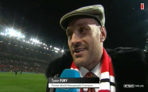 <span>Tyson Fury is at OT</span> <span>Credit: BT Sport </span>