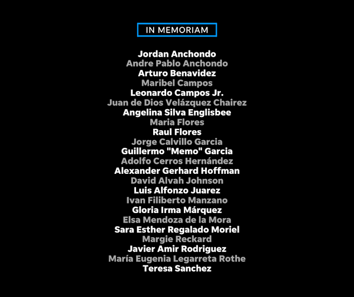 The names of the 23 U.S., Mexico and German citizens who died in the attack at Walmart on Aug. 3, 2019.