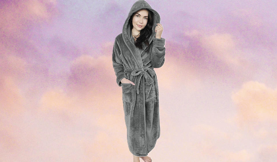 You, too, can strike a pose like Our Lady of Chillaxation here in this plush robe. (Photo: Amazon)