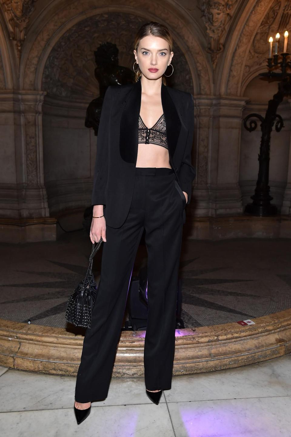 <p>Lily Donaldson went for the standard model suit ensemble. <i>[Photo: Getty]</i> </p>