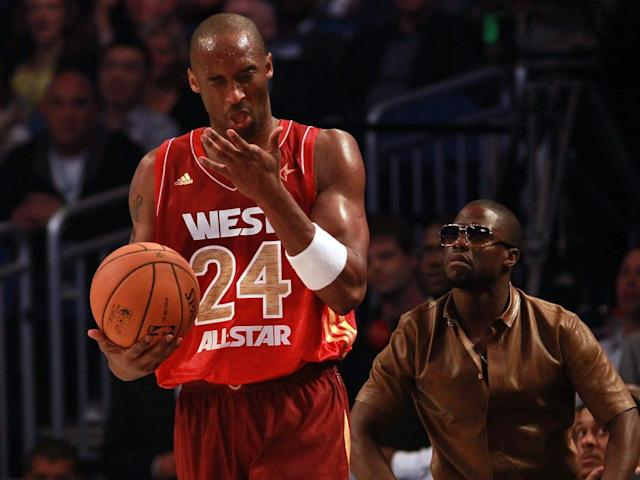 Kobe Bryant (left) plays in the NBA All-Star game as Kevin Hart looks on.