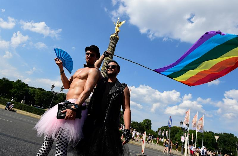 Participants of the Christopher Street Day gay pride parade in Berlin living as they choose in one of the most tolerant cities in the world (AFP Photo/Tobias SCHWARZ                      )