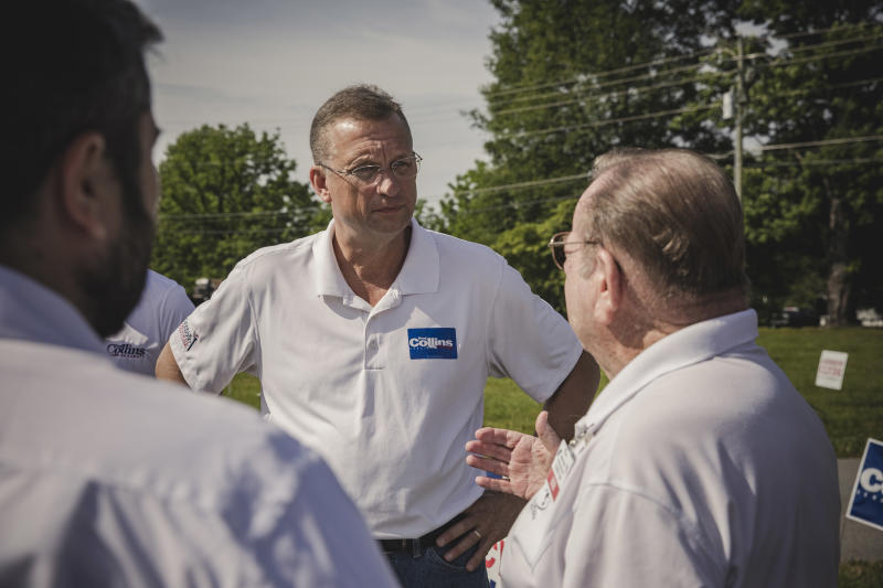 Rep. Doug Collins, who is challenging Sen. Kelly Loeffler (R-Ga.) in the special election, talks to supporters in Dillard, Ga., June 6, 2020. (Audra Melton/The New York Times)