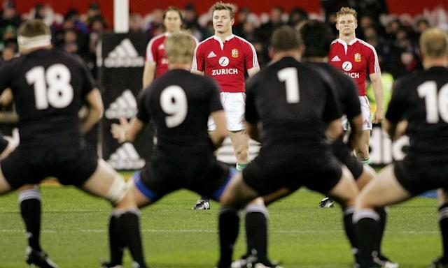 """<span class=""""element-image__caption"""">'We got slaughtered, didn't we?' The British and Irish Lions team watch the All Blacks perform the haka before the first Test of the 2005 series, which Clive Woodward's side lost 3-0.</span> <span class=""""element-image__credit"""">Photograph: William West/AFP/Getty Images</span>"""