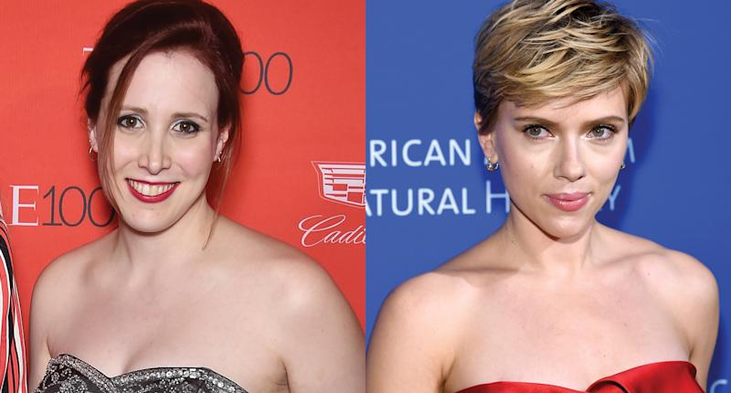 Dylan Farrow and Scarlett Johansson