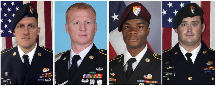 These images provided by the U.S. Army show Staff Sgt. Bryan C. Black; Staff Sgt. Jeremiah W. Johnson; Sgt. La David Johnson; and Staff Sgt. Dustin M. Wright, who were killed by militants believed linked to ISIS.