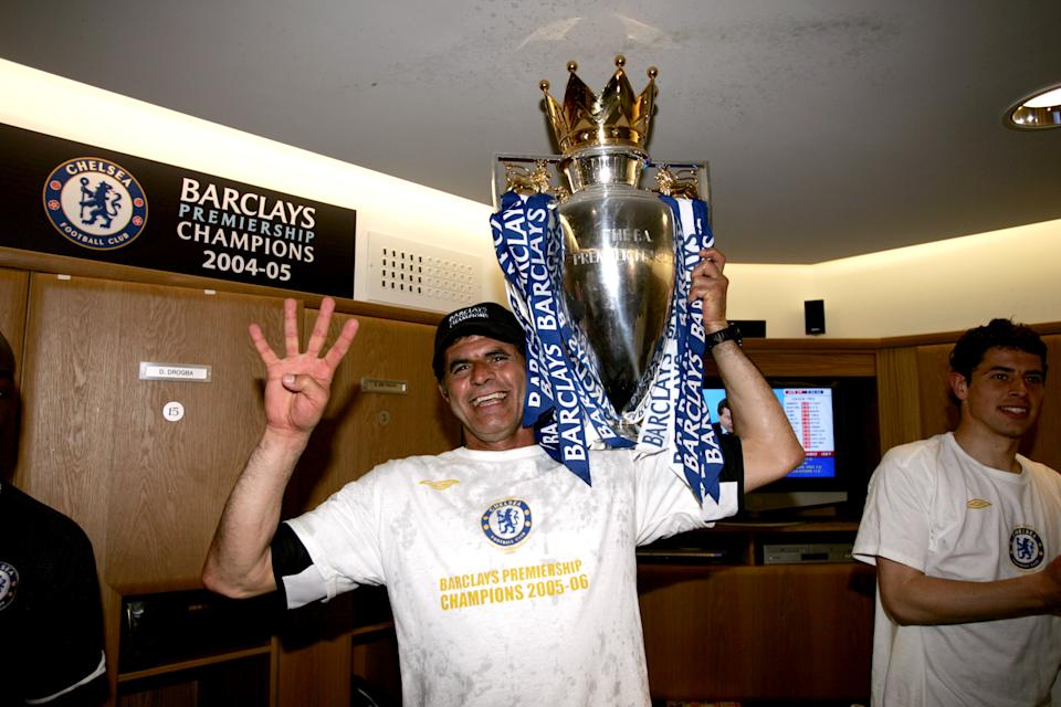 UNITED KINGDOM - JANUARY 01:  Chelsea's Baltemar Brito celebrates with the Premiership Trophy  (Photo by Darren Walsh/Chelsea FC Via Getty Images)