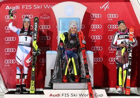 Alpine Skiing - FIS Alpine Skiing World Cup - Women's Slalom - 2nd run - Zagreb, Croatia - January 3, 2018 -  (L-R) Wendy Holdener (2nd place) of Switzerland, Mikaela Shiffrin (1st place) of the U.S. and Frida Hansdotter (3rd place) of Sweden react at the podium. REUTERS/Antonio Bronic