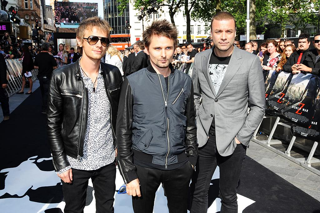 LONDON, ENGLAND - JUNE 02:  (L-R) Dominic Howard, Matt Bellamy and Christopher Wolstenholme of Muse attend world premiere of World War Z at the Empire Leicester Square on June 2, 2013 in London, England.  (Photo by Dave J Hogan/Getty Images)