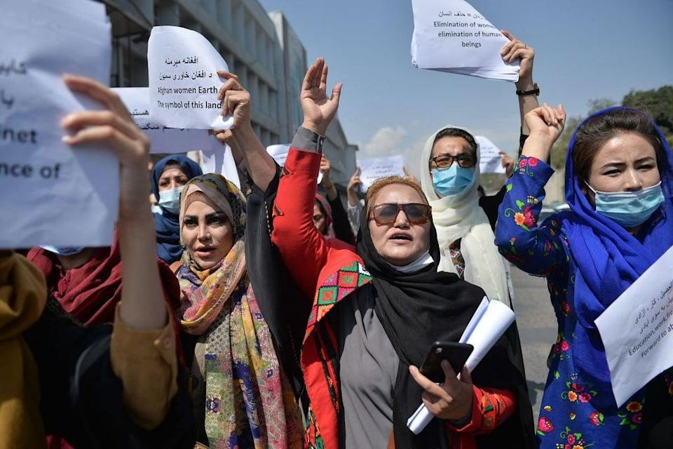 Afghan women take part in a protest in Kabul (Getty Images)