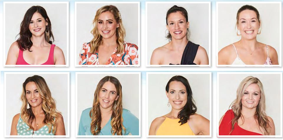 Farmer Will's ladies are (top row L-R): Jessica, 29, Jaimee, 32, Cat, 33, Caitlyn, 29, and (bottom row L-R): Tammy, 40, Kristina, 29, Alana, 30, Lisa, 39. Photo: Channel 7 (supplied).
