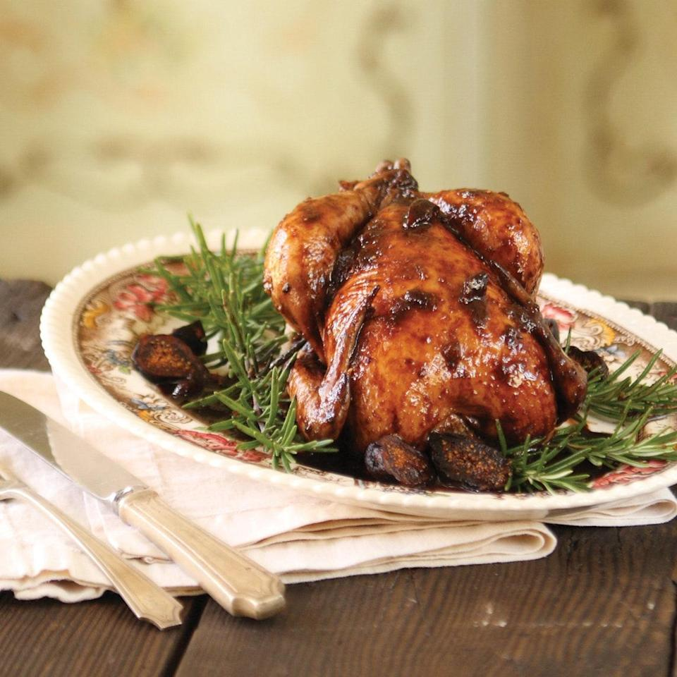 """Cornish game hens are just the right size to serve two people. They also make an elegant and easy Crock-Pot <a href=""""https://www.epicurious.com/expert-advice/a-mini-slow-cooker-is-the-key-to-weeknight-cooking-for-one-cut-down-on-leftovers-article?mbid=synd_yahoo_rss"""" rel=""""nofollow noopener"""" target=""""_blank"""" data-ylk=""""slk:meal for one"""" class=""""link rapid-noclick-resp"""">meal for one</a>. Port is an excellent ingredient for slow cookers, as it always imbues the ingredients with rich color. For a darker skin, baste the hen during cooking with sauce from the bottom of the pot. <a href=""""https://www.epicurious.com/recipes/food/views/cornish-hen-in-port-wine-and-fig-preserves-51200420?mbid=synd_yahoo_rss"""" rel=""""nofollow noopener"""" target=""""_blank"""" data-ylk=""""slk:See recipe."""" class=""""link rapid-noclick-resp"""">See recipe.</a>"""