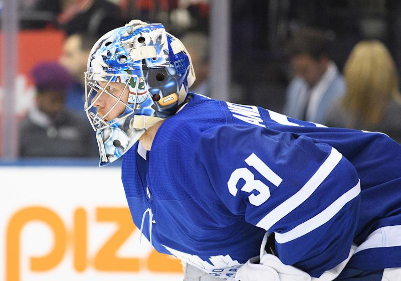 While Frederik Andersen's play in October may not have been impressive, his Halloween costume sure was. (Nick Turchiaro-USA TODAY Sports)