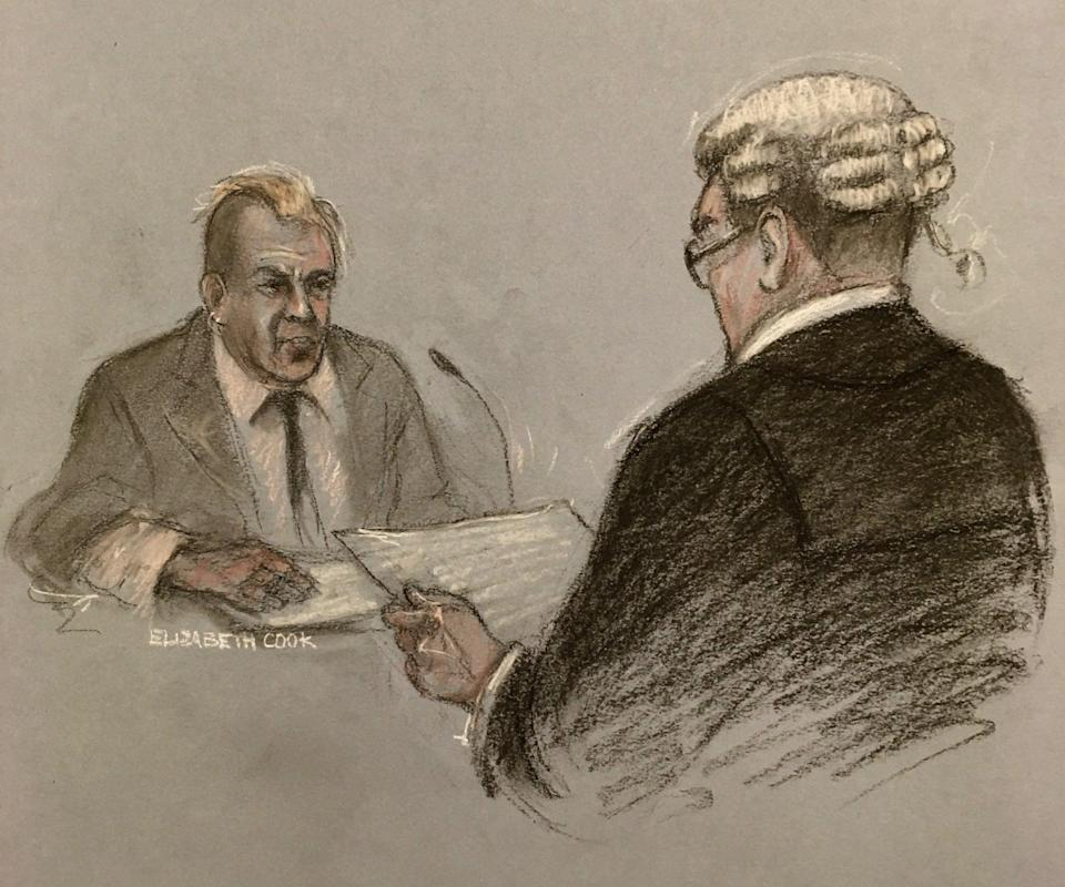 Court artist sketch of John Lydon giving evidence to barrister Edmund Cullen QC during the hearing (Elizabeth Cook /PA) (PA Wire)
