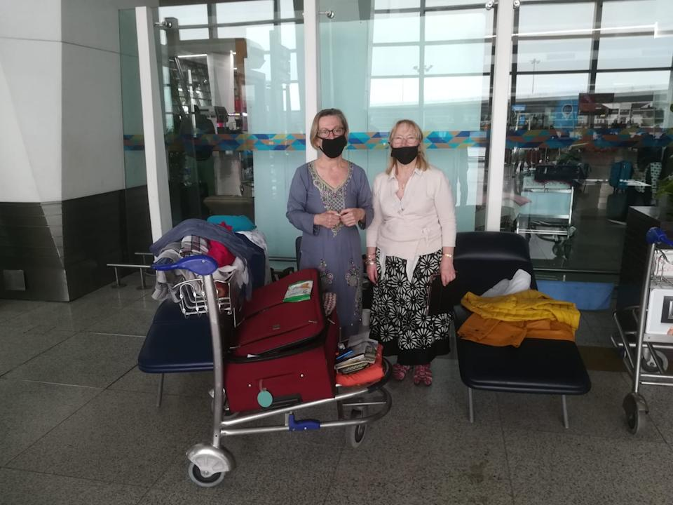 The women travelled to the airport following advice to return home, but were too late and all flights had stopped. (Picture: Diane Want)