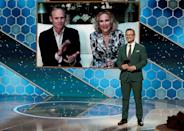 """Catherine O'Hara (on screen, with her husband Bo Welch) accepts her Golden Globe for her role in """"Schitt's Creek"""""""