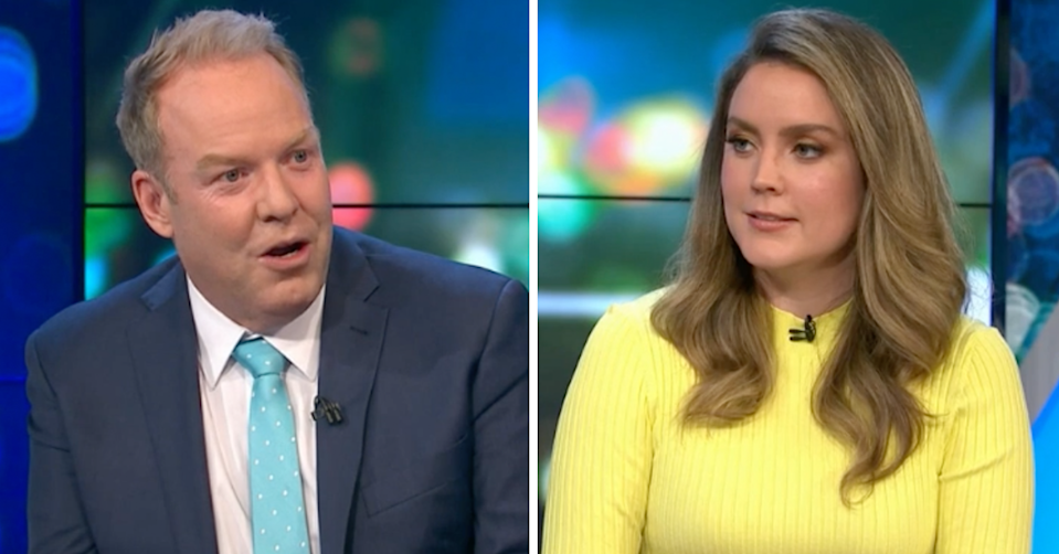 Peter Helliar and Georgia Tunny on The Project.