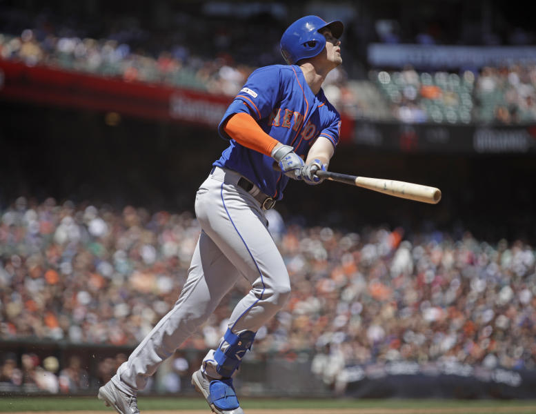 New York Mets' Jeff McNeil watches his two run home run hit off San Francisco Giants' Jeff Samardzija in the fifth inning of a baseball game Saturday, July 20, 2019, in San Francisco. (AP Photo/Ben Margot)