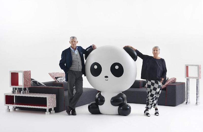 Paola Navone with Giulio Cappellini and his Panda lamp