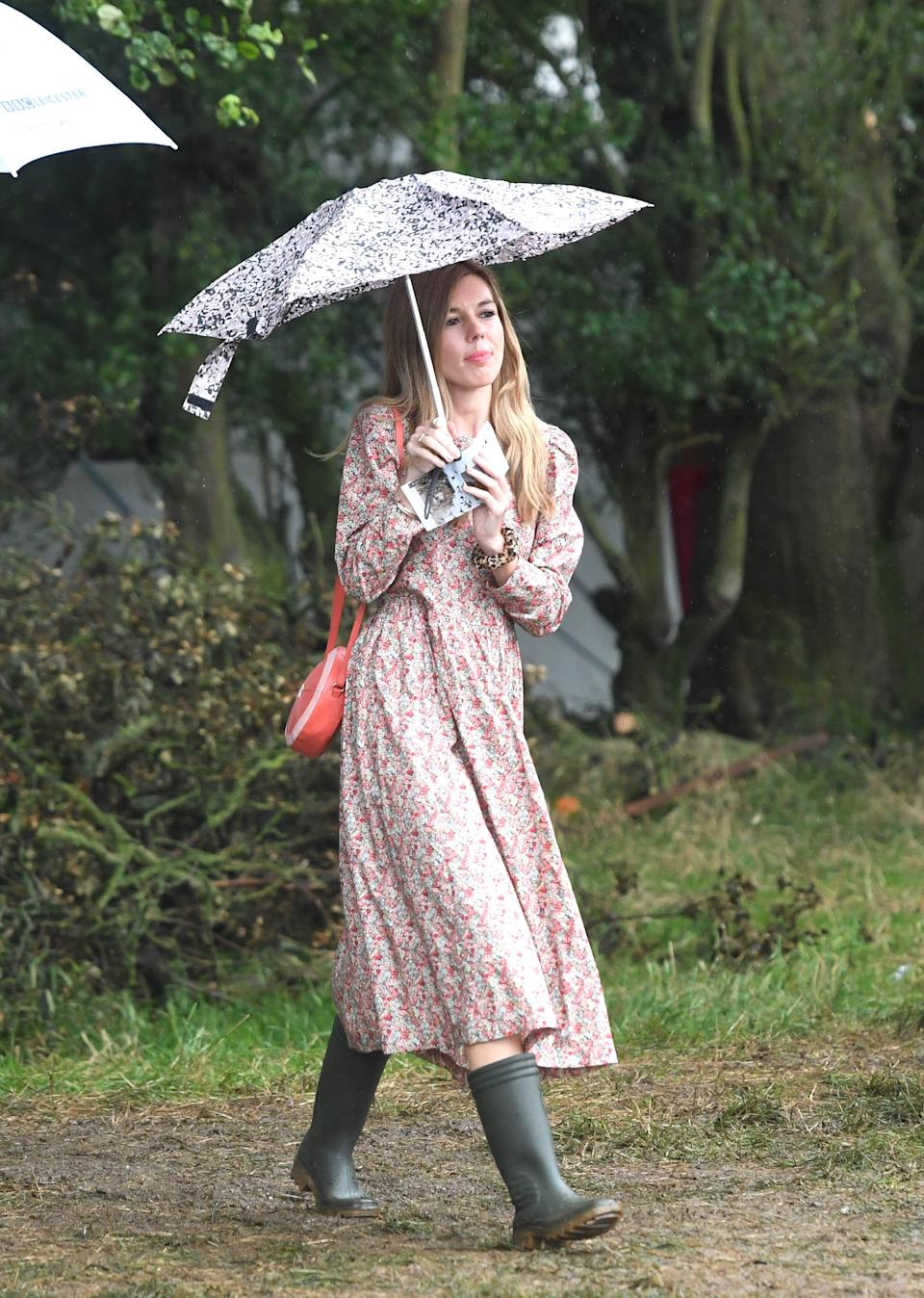 Carrie Symonds styled her Cotton Riding House Dress with a pair of wellies [Photo: PA]