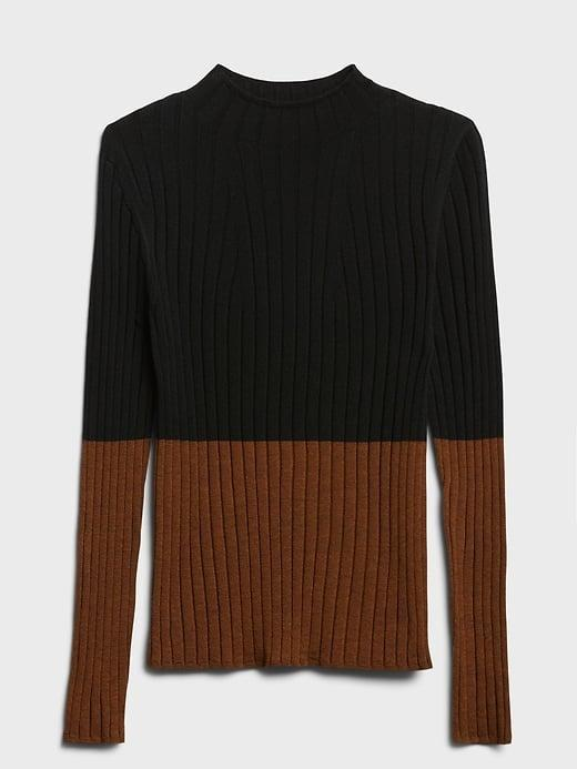 <p>This <span>Banana Republic Merino Color-Block Sweater</span> ($26, originally $90) would look great pair with your favorite pair of jeans as well!</p>