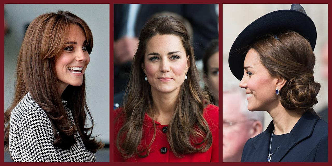 <p>Since her marriage to Prince William in 2011, Kate Middleton has been a perpetually in the public eye. To the fashion and beauty world, she's known for her iconic and elegant style—and her gorgeous glossy hair. The Duchess of Cambridge seems to stick to a few tried-and-true hairstyles, but she has mixed it up a few times (did someone say bangs?). See here Kate Middleton's all-time best hair looks, from her signature bouncy blowout to her trend-resurrecting chignon. </p>
