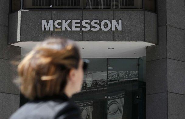 PHOTO: A pedestrian passes a McKesson sign on an office building in San Francisco. (Jeff Chiu/AP, FILE)