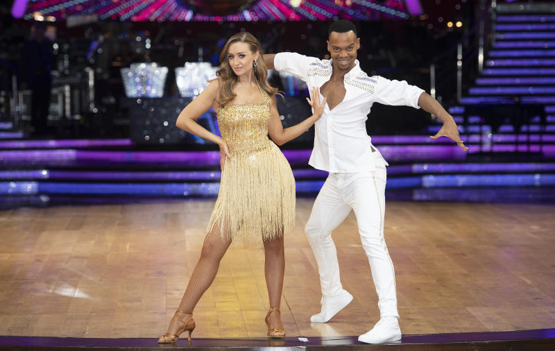 BIRMINGHAM, ENGLAND - JANUARY 15: Johannes Radebe and Catherine Tyldesley during the Strictly Come Dancing Arena Tour 2020 photocall at Arena Birmingham on January 15, 2020 in Birmingham, England. (Photo by Katja Ogrin/Redferns)