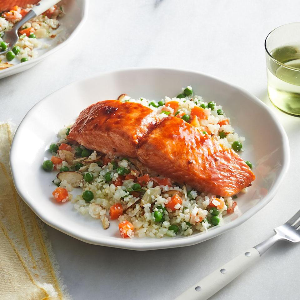 <p>This sweet and spicy glazed salmon is sure to satisfy anyone at your table. Swapping in cauliflower rice for traditional rice not only sneaks in a serving of vegetables, it also saves time, as it takes just minutes to cook.</p>