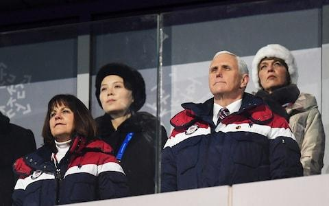 Vice President Mike Pence and North Korean Leader Kim Jong-un's sister Kim Yo-jong (back left) watch on during the Opening Ceremony of the Winter Olympics - Credit: Getty