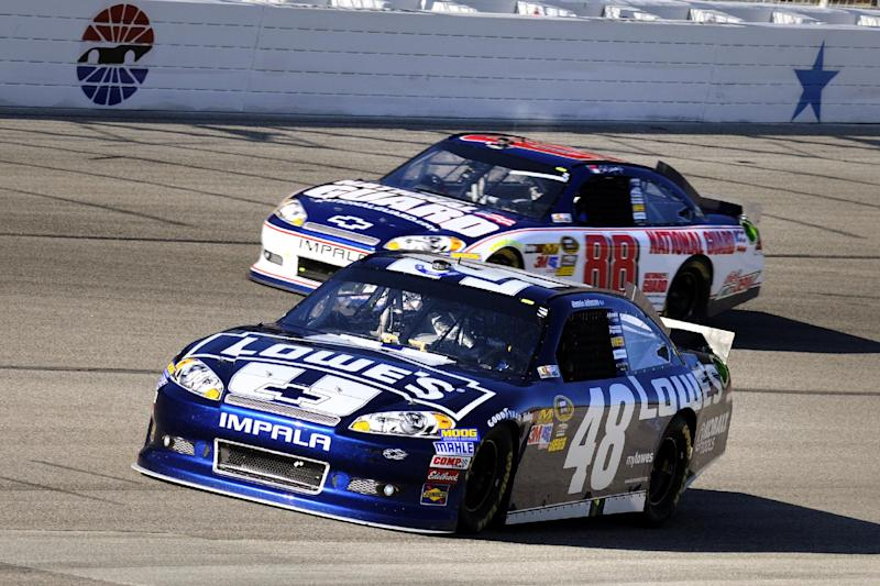 Jimmie Johnson (48) and Dale Earnhardt Jr. (88) come out of Turn 4 during a NASCAR Sprint Cup Series auto race at Texas Motor Speedway, Sunday, Nov. 4, 2012, in Fort Worth, Texas. (AP Photo/Larry Papke)