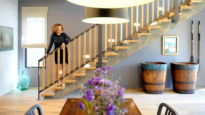 "Interior designer Bridgid Coulter says she loves the staircase she created in this Venice home. <span class=""copyright"">(Christina House / Los Angeles Times )</span>"