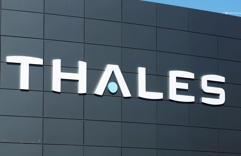 The logo of French defence and electronics group Thales is seen at the company's headquarters in Merignac near Bordeaux