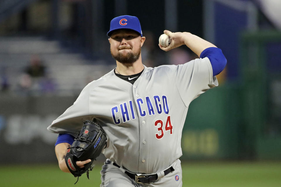 Chicago Cubs starting pitcher Jon Lester delivers during the first inning of a baseball game against the Pittsburgh Pirates in Pittsburgh, Wednesday, Sept. 25, 2019. (AP Photo/Gene J. Puskar)