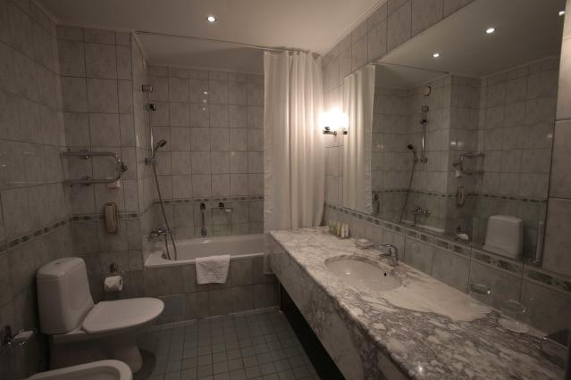 An interior view shows a bathroom in a suite at the Moscow Country Club hotel and golf resort which was chosen to be the base for the Belgian national soccer team during the 2018 FIFA World Cup in the village of Nakhabino, outside Moscow, Russia February 15, 2018. Picture taken February 15, 2018.