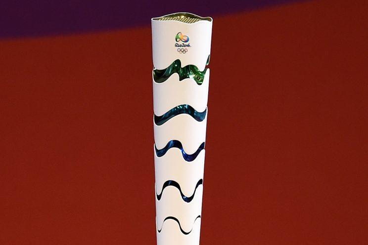 The Rio 2016 Olympic torch is seen during its launching ceremony on July 3, 2015 in Brasilia, Brazil. (Getty)