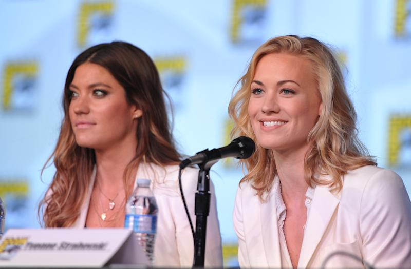"""Jennifer Carpenter and Yvonne Strahovski attend the """"Dexter"""" Panel at Comic-Con on Thursday, July 12, 2012, in San Diego, Calif. (Photo by John Shearer/Invision/AP)"""