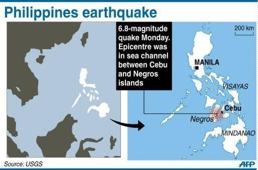 Map of the Philippines locating the epicentre of a 6.8-magnitude quake. Rescuers were fanning out across the central Philippines Tuesday after a powerful earthquake triggered landslides, collapsed homes and killed dozens of people