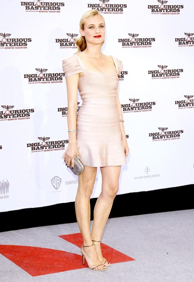 "Proving that she's the most consistent red carpet charmer, Diane makes a second (and well-deserved) appearance in this week's gallery thanks to the rose-colored Herve Leger by Max Azria frock, classy 'do, and gold accessories she donned while in Berlin. Colin Stark/<a href=""http://www.gettyimages.com/"" target=""new"">GettyImages.com</a> - July 28, 2009"